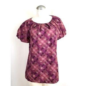 Ann Taylor Size M Purple Tan Blouse 100% Silk